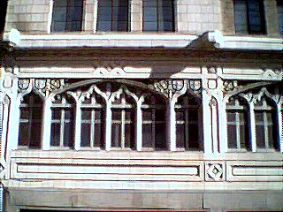 [Stone tracery on old Bamberger's building]