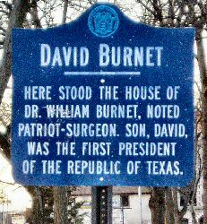 [Historical marker: first President of Texas was born in Newark]