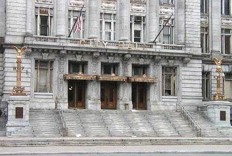 [Detail, canopy and entranceway, City Hall]