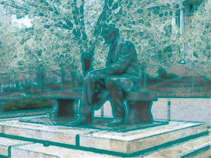 [Blotchy green rendering of Lincoln statue]