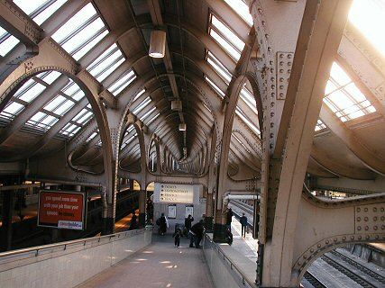 [Glass and metal roof in Newark Penn Station]