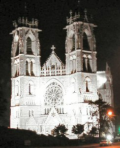 [Sacred Heart Cathedral Basilica entire, nite view]