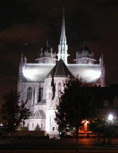 [Rear of Cathedral at nite]