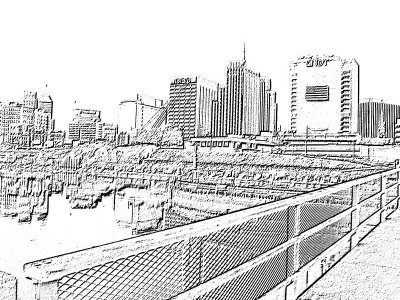 "[""Charcoal"" effect on closer view from Bridge St bridge]"
